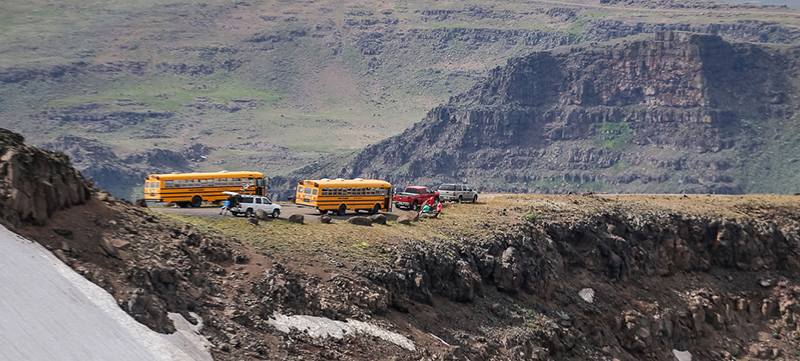 Camp buses atop Steens Mountain.